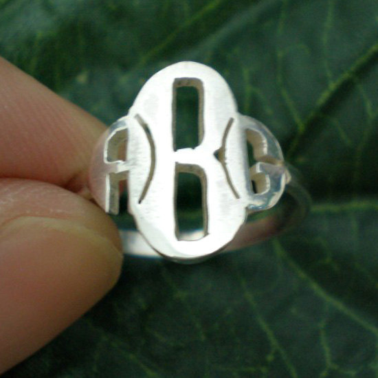 Four Leaf Clover Monogram Ring - Shamrock Monogram Ring