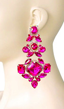 "4.75"" Long Fuchsia Hot Pink Rhinestones Oversized Clip On  Earrings Drag... - $28.21"