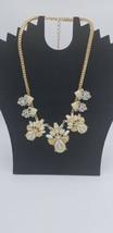 Vintage Box Style Gold Tone Chain W/ Pearl & Rhinestone Floral Cut Desig... - $29.02