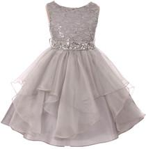 Flower Girl Dress Sequin Lace Top Ruffle Skirt Silver MBK 357 - $43.56+
