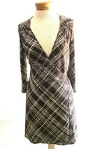 BCBG Maxazria Women's S Brown Stripe True Wrap dress Career Cocktail Exc... - $24.57