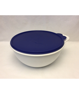 Tupperware 12 cup white z bowl with blue lid thumbtall