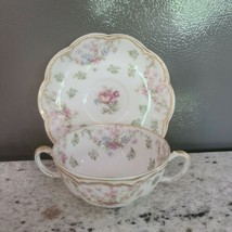 Haviland Limoges Schleiger 72 Floral Double Gold - Bouillon Cup and Saucer Set - $102.85