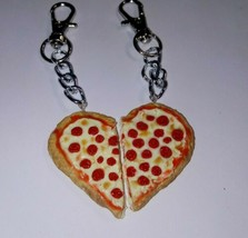 Cute BFF Pepperoni Pizza Clay Pizza Charm Keychain Pepperoni Cheese - $7.00