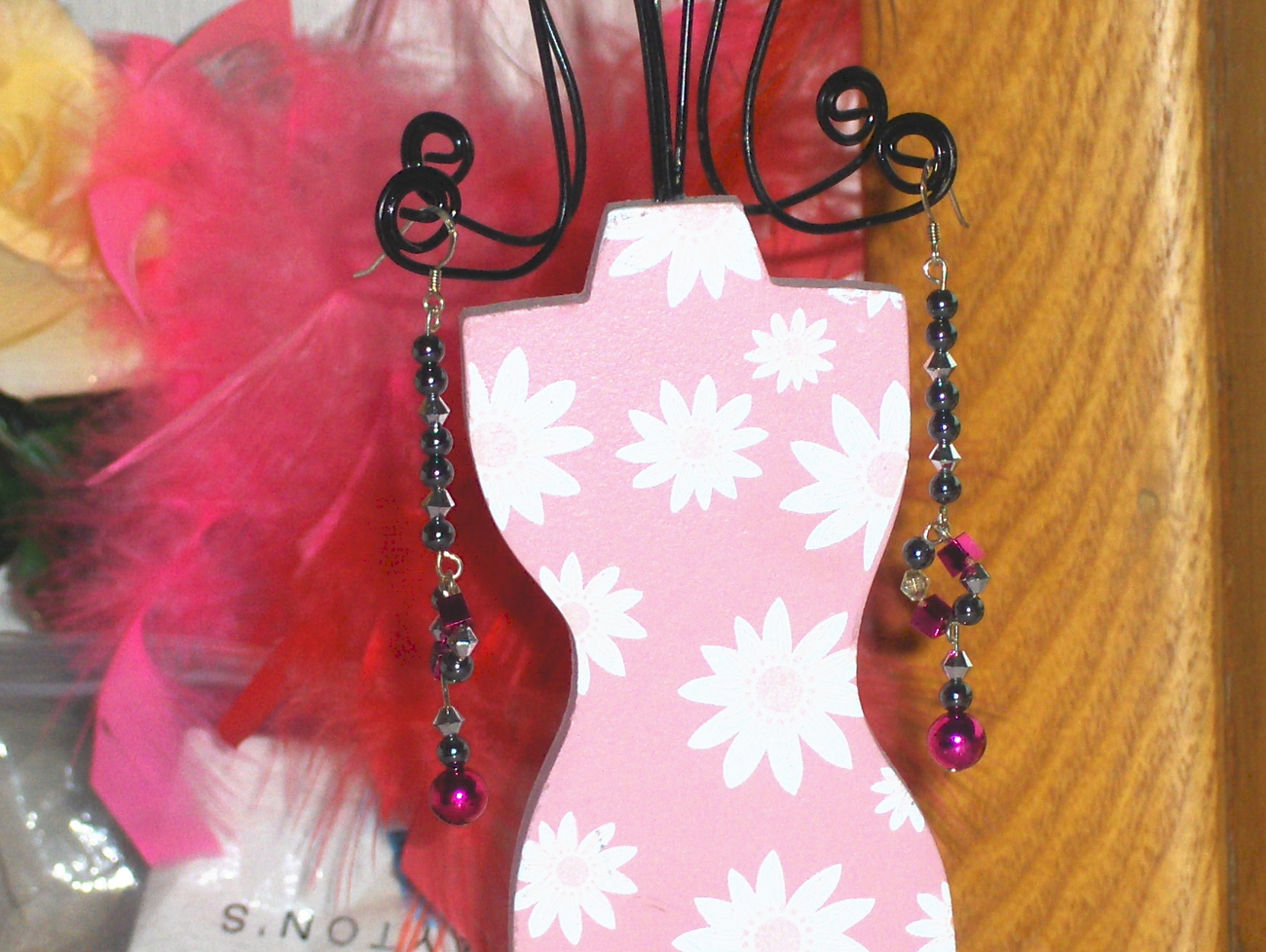 Black and Pink Bead Dangle Earrings Sterling Silver