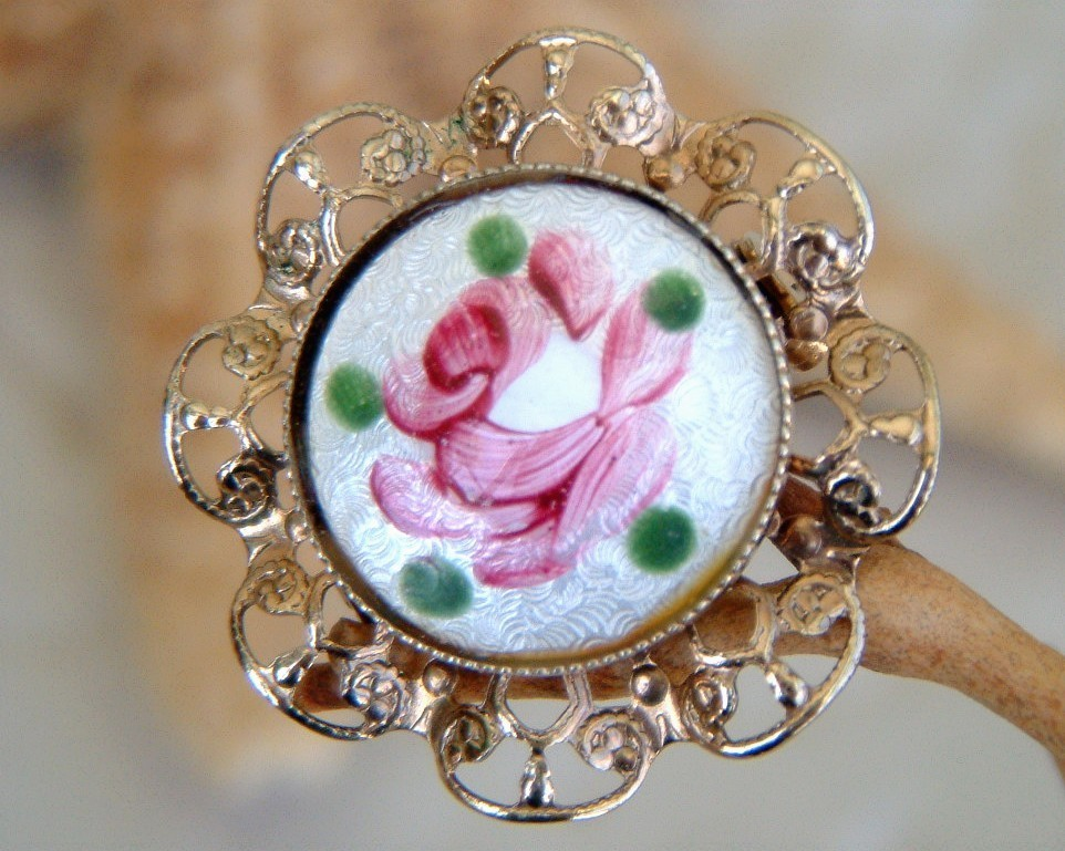 Guilloche rose brooch pin enamel hand painted