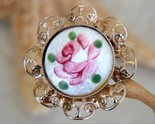Guilloche rose brooch pin enamel hand painted thumb155 crop