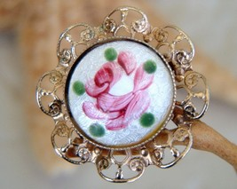 Vintage Guilloche Enamel Rose Flower Pin Brooch Filigree - $19.95
