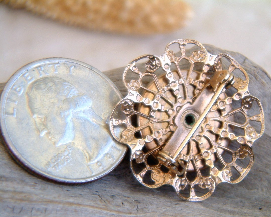Vintage Guilloche Enamel Rose Flower Pin Brooch Filigree