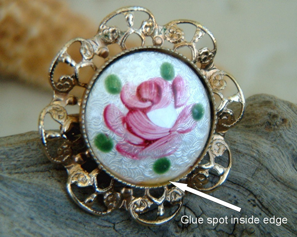Vintage Guilloche Enamel Rose Flower Pin Brooch Filigree
