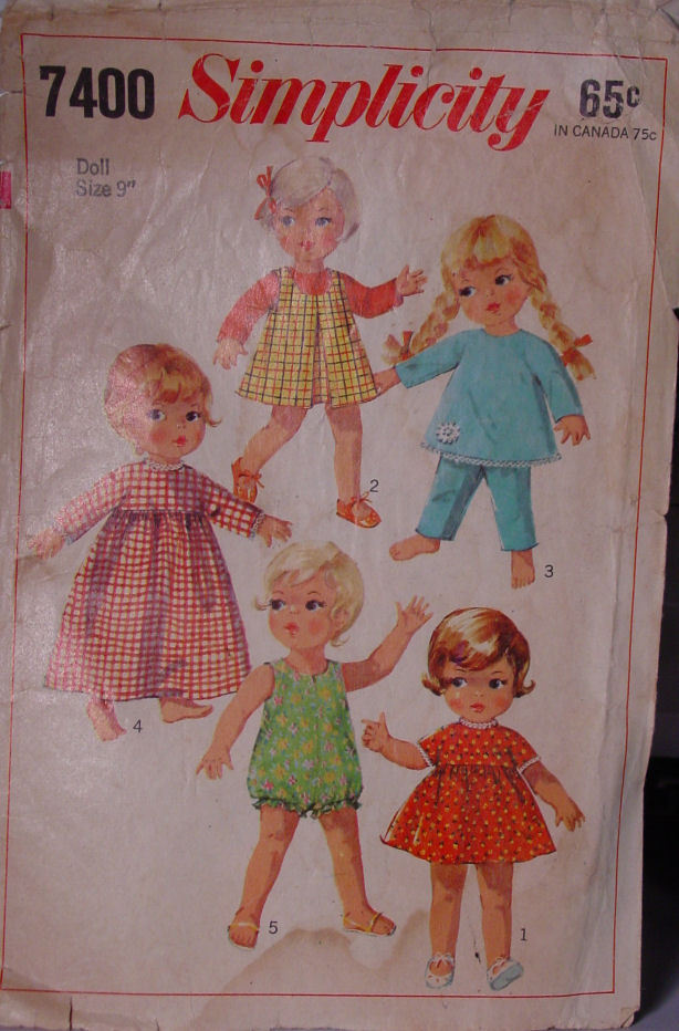 """Pattern 7400  Vintage Doll Clothes 9"""" (used)"""