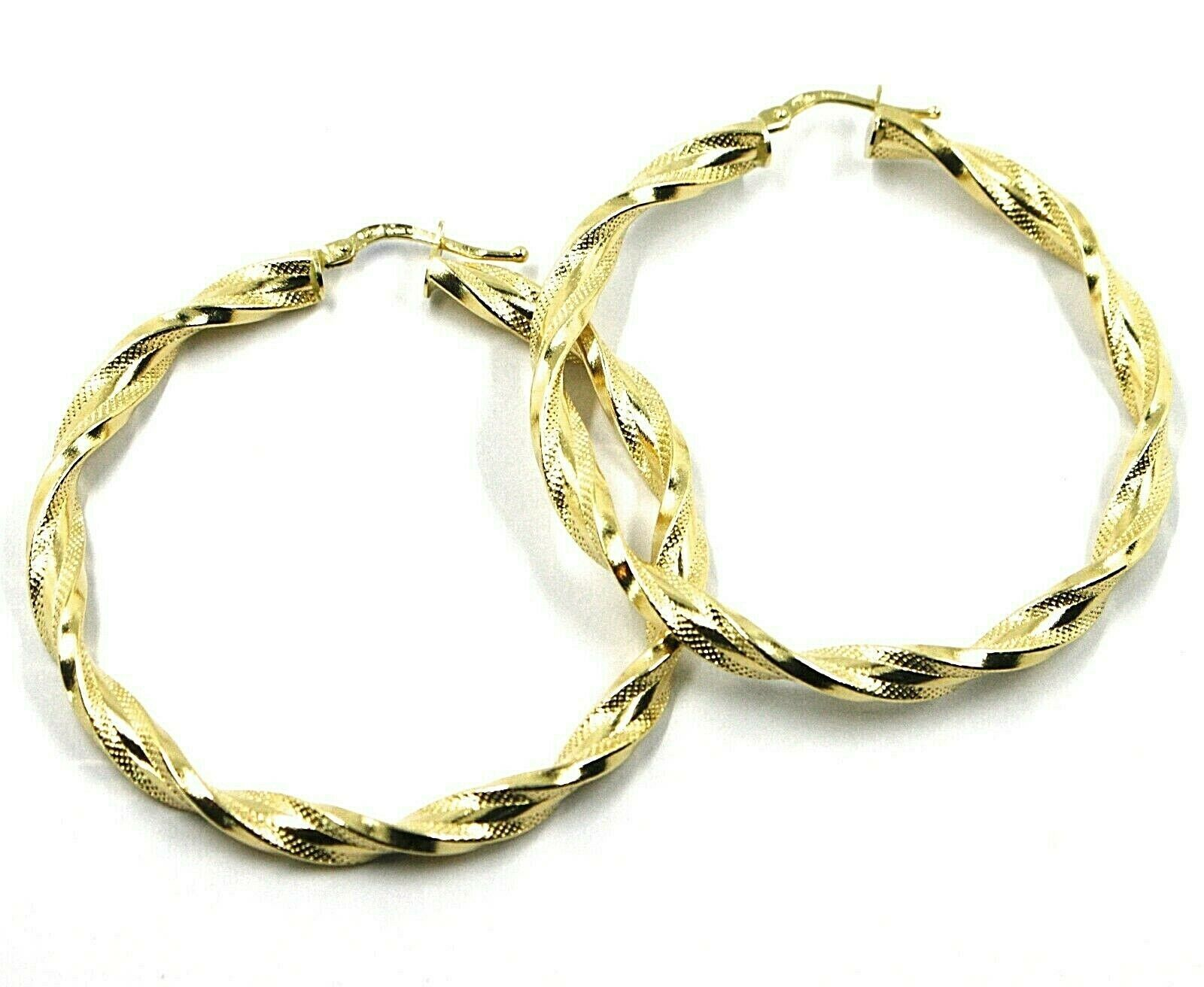 18K YELLOW GOLD BIG HOOPS EARRINGS DIAMETER 50mm TUBE 5mm TWISTED SATIN POINTED