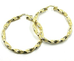 18K YELLOW GOLD BIG HOOPS EARRINGS DIAMETER 50mm TUBE 5mm TWISTED SATIN POINTED image 1
