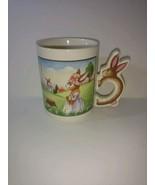 MOTHER AND CHILD RABBIT HARE BUNNY HANDLE COFFEE TEA MUG Collectible Cup - 8 oz - $22.76