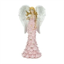 Pink Solar Powered Rose Angel Statue - $23.18