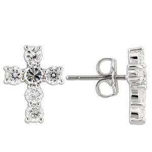 Sterling Silver Cross Earrings With Clear CZ, Rhodium Plating
