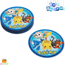 Pokemon Paper Dinner Plates Large Round Bright Colorful Design for Kids 8-Count - $2.99