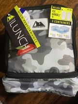 ARCTIC ZONE INSULATED LUNCH BOX  GRAY CAMO ICE BRICKS 3 Containers - $13.74