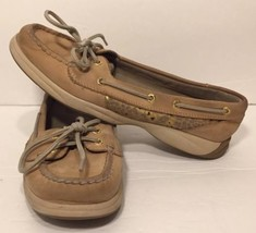 SPERRY TOP-SIDER Womens Tan Leather Boat Shoe Lace STS92477 Flats 7.5 M - $29.69