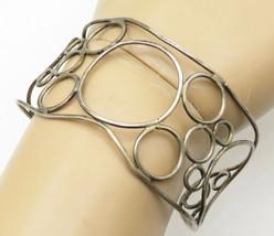 925 Sterling Silver - Vintage Open Wire Circles Wide Cuff Bracelet - B4363 - $70.65