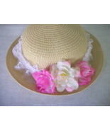 SMall  STRAW HAT embelished w lace and  flowers UNique - $20.79