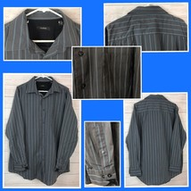 ALFANI Men's long sleeve casual shirt gray with stripes Size XL - A1701 - $14.39