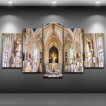 5 Pcs Church Artistic Poster Home Decor Wall Picture Printed Canvas Pain... - $45.99+