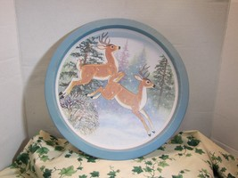 Vintage Round Metal 13 Inch Serving Tray Winter Deer Cabin Lake Kitchen ... - $13.42 CAD