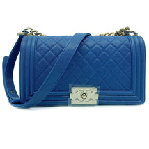 Chanel Blue Quilted Caviar Gold Tone Medium Boy Flap Bag A67086 B00317 N... - $8,013.31