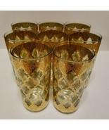 Fabulous Culver VALENCIA 22k Gold & Green 12oz Flat Tumber Set of 8 Signed 5 3/4 - $79.95