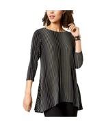 Alfani Top Blouse Striped Flared Tunic Black White 3/4 Sleeves XL NEW NW... - $25.80