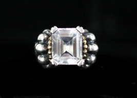 Vintage Lagos Caviar Sterling Silver 18K Yellow Gold 7.20ct White Topaz ... - $476.99