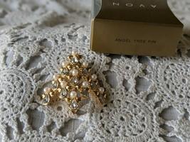 Avon Designer Signed Angel Rhinestone Tree Pin Brooch .. - $14.54