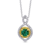 0.62Cts Emerald Side Diamonds Halo Pendant Necklace Set in 18K White Yel... - $4,405.50