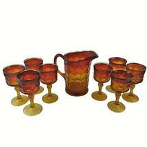Tiara Indiana Glass Sunset Amberina Constellation Pitcher & 8 Glasses Goblets - $98.99