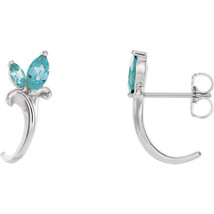 14K White Gold Plated Sterling 1/2Ct Marquise Cut Blue Diamond Hoop Earr... - $65.99