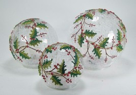 LED Lighted Holly Berry Crackle Glass Globes Set of 3 Indoor Christmas Decor - $87.07