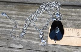"""COOKIE LEE DESIGNER NECKLACE FACETED GLASS SILVER TONE METAL CHAIN COSTUME 15"""" image 6"""
