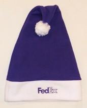 FedEx Express Stocking Cap Santa Hat Logo One Size Purple White Holiday - $10.59