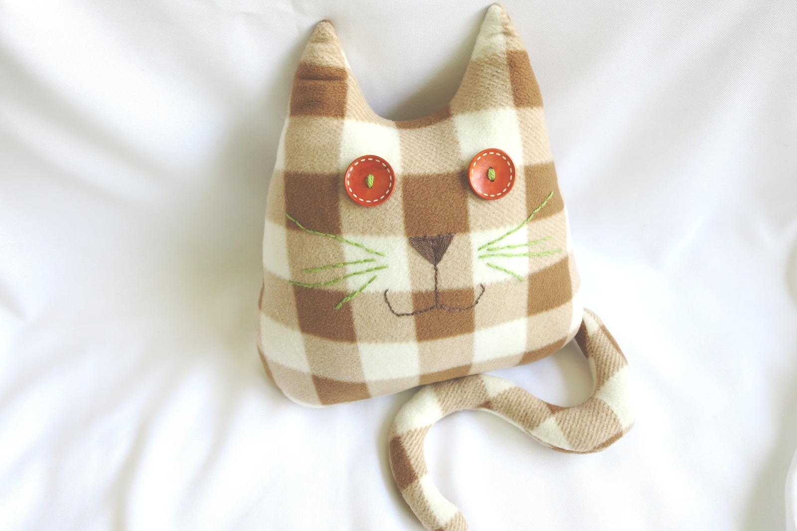 Handmade Checked Throw pillow, home decoration, cat shaped design, birthday gift