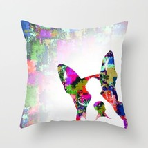 Throw Pillow Case Cushion cover Made in USA Dog 135 Boston Terrier art L.Dumas - $29.99+