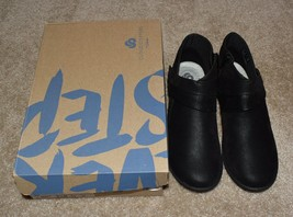 New Womens Clarks Cloudsteppers Shoes Black Sillian Rani Ankle Boot 6.5 M - $43.00