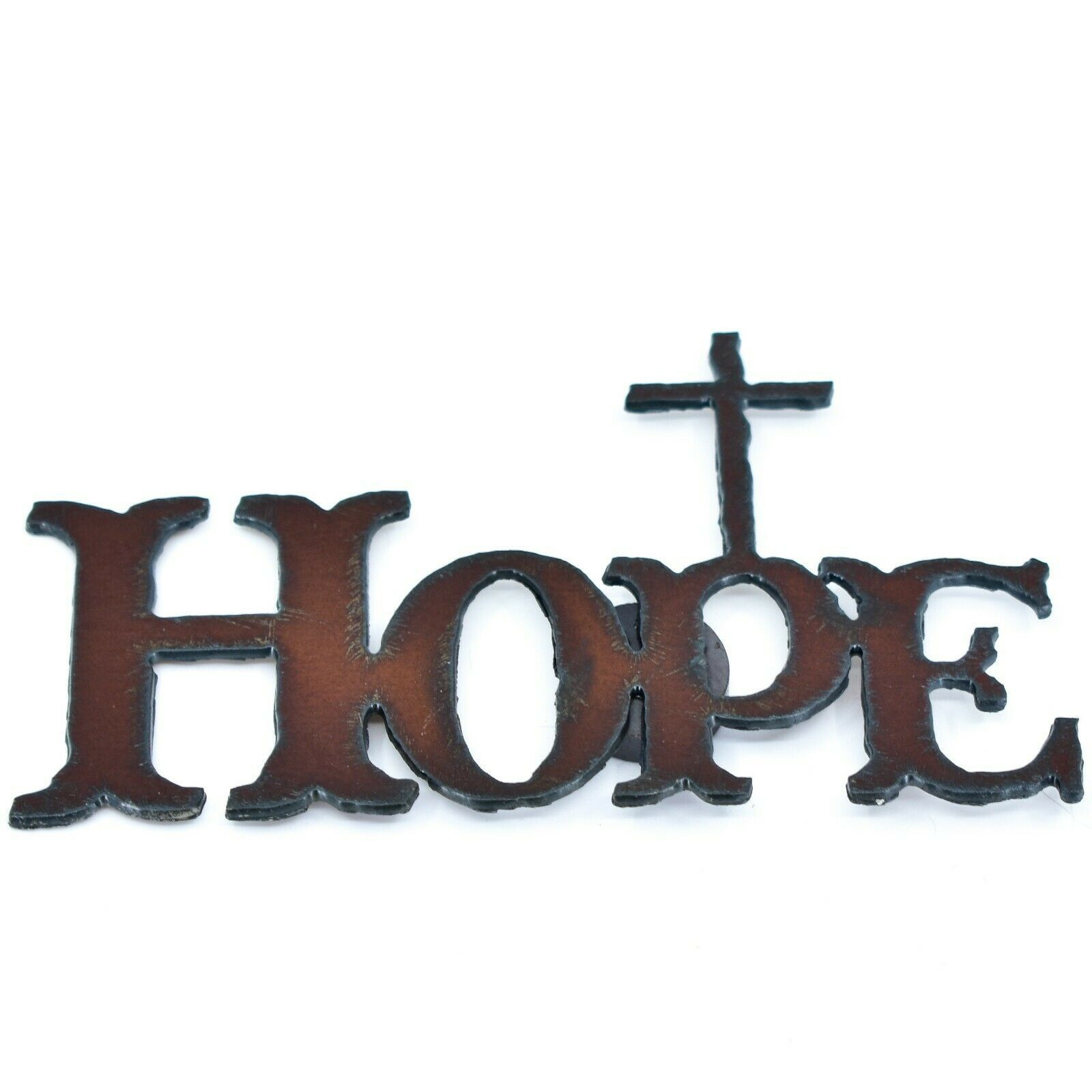 "Country Western Rusted Patina Iron Metal Cutout Religious Cross ""HOPE"" Magnet"
