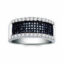 Sterling Silver Womens Round Blue Color Enhanced Diamond Band Ring 3/4 Cttw - $255.82