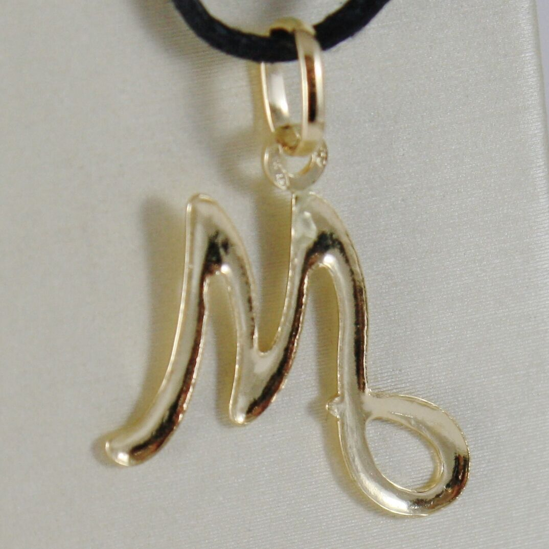 18K YELLOW GOLD PENDANT CHARM INITIAL LETTER M, MADE IN ITALY 1.0 INCHES, 25 MM image 2