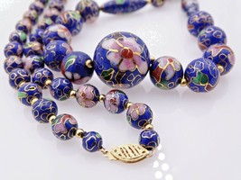 Vintage Necklace 14K Yellow Gold Beads Clasp Graduated Blue Cloisonne Be... - $99.00