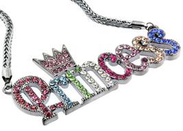 Lady Gun Hema Iced Out Cz Princess Crown Neckla... - $24.74