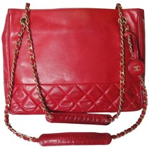Vintage CHANEL red calfskin classic shoulder tote bag with gold tone cha... - $1,072.00