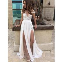Summer Chiffon Beach Wedding Dress A Line Lace Appliques Double Split Bridal Gow image 2