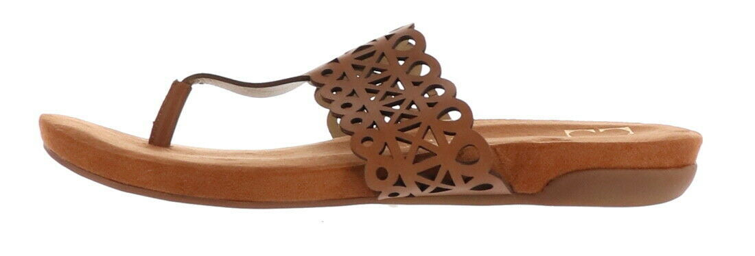 Primary image for Liz Claiborne NY Leather Sandals Cut-Out Design Cognac 8.5M NEW A263703